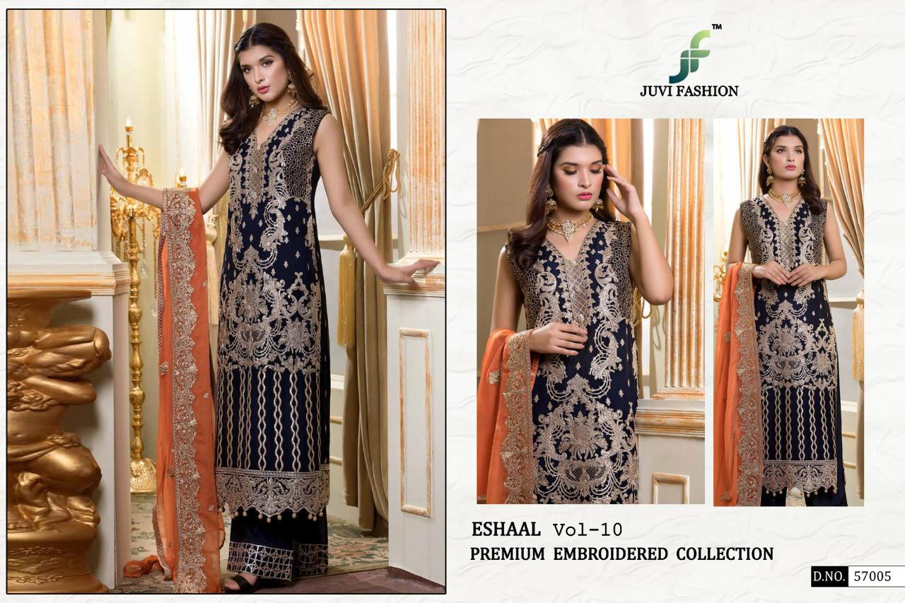 faba268a41 Eshaal Vol 10 by Juvi Fashion Heavy Embroidered Faux Georgette Pakistani  Dress Material at Wholesale Rate - Tathastu Wholesale