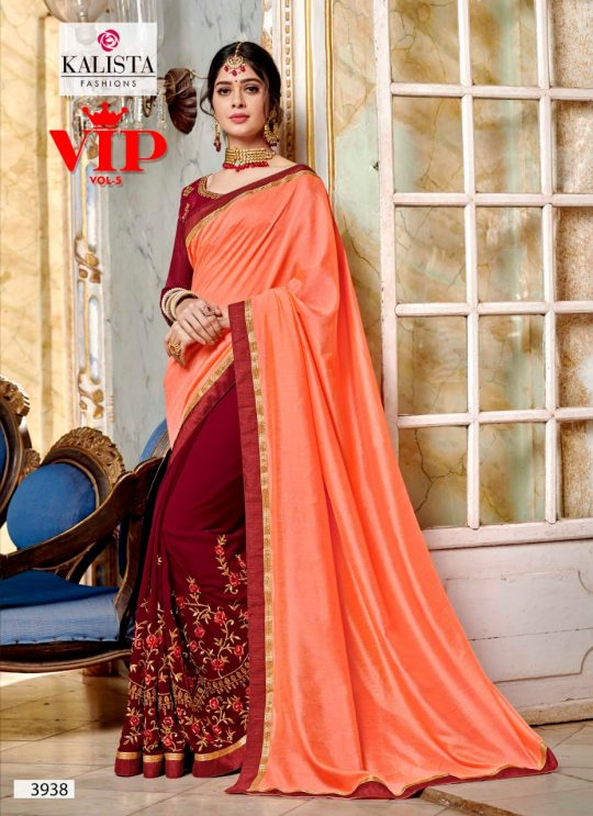 2244596138 VIP Vol 5 by Kalista Fashions Fancy Fabric with Embroidery Work Sarees at  Wholesale Rate