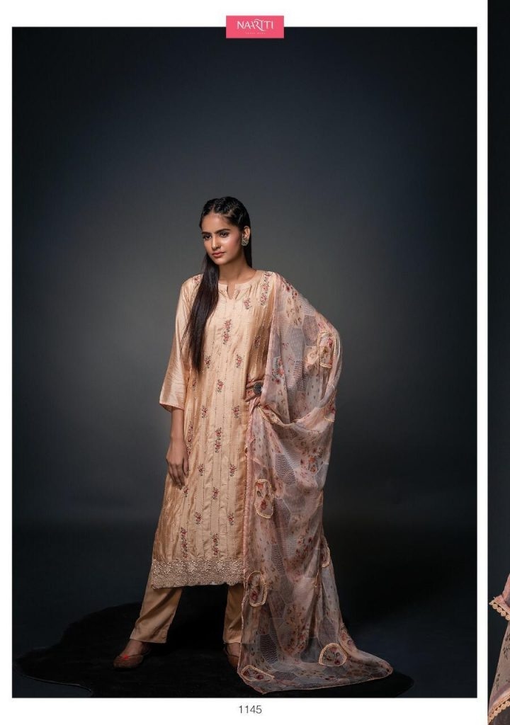 Saanjh By Naariti Designer Printed Muslin Silk With Embroidery Work Dress Material Collection At Wholesale Rate Tathastu Wholesale
